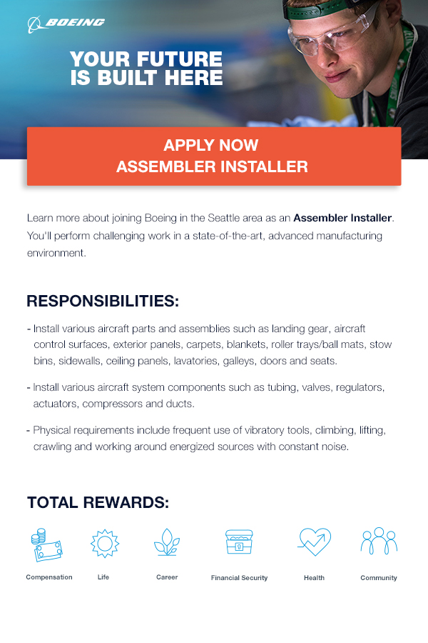 Boeing - The Future is Built Here – Apply Now – Assembler Installer